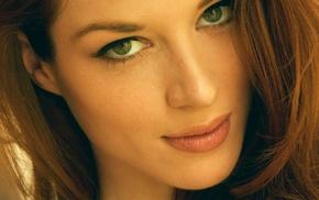 model, looking at viewer, redhead, green eyes, portrait display, Stoya