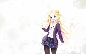 Hannah N. Fountainstand, skirt, blue eyes, Hanayamata, blonde, anime
