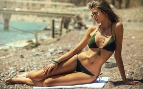 skinny, bikini, sunglasses, girl, girl with glasses, pierced navel