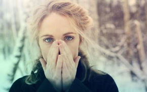 Agnes Obel, musician, girl outdoors, girl, looking at viewer, blonde