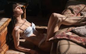 model, white lingerie, girl, Kerry Ann, closed eyes, Jack Russell