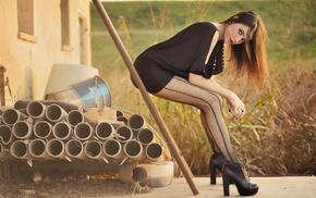 legs, brunette, redhead, model, long hair, looking at viewer