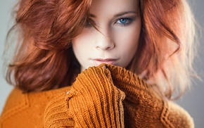 looking at viewer, redhead, blue eyes, girl, pull shirt