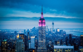 city lights, New York City, sky, city, Empire State Building