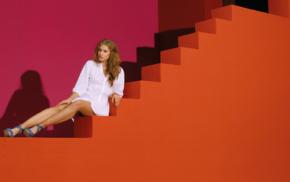 fashion, model, auburn hair, girl, Tanya Mityushina, looking at viewer