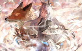 fox, Pixiv Fantasia, animal ears, kitsunemimi, katana