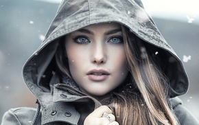 girl, portrait, face, Alessandro Di Cicco, blonde, hoods