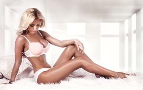 blonde, brunette, lingerie, sitting, girl