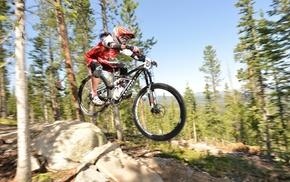 bicycle, helmet, mountain bikes, girl with bikes