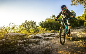 mountain bikes, helmet, girl with bikes, bicycle