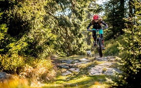 mountain bikes, girl with bikes, bicycle, helmet