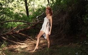 redhead, girl outdoors, Mia Sollis, model
