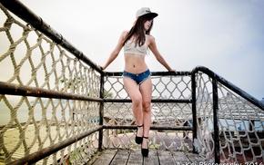 looking away, girl, jean shorts, Asian, baseball caps