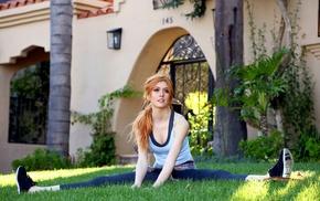 looking away, girl outdoors, splits, celebrity, Katherine Mcnamara, girl