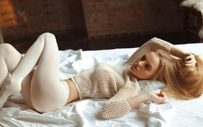 blonde, sweater, girl, pantyhose, ass, closed eyes