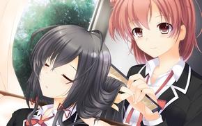 anime, black hair, Yukinoshita Yukino, school uniform, Yuigahama Yui, Yahari Ore no Seishun Love Comedy wa Machigatteir