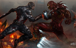 Captain America, artwork, fighting, Iron Man