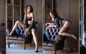 model, lingerie, girl, collage, chair