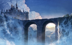castle, artwork, bridge, fantasy art