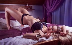 bed, model, black lingerie, girl