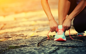 sun rays, asphalt, shoes, lace, running