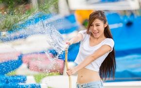 girl, model, water, Asian