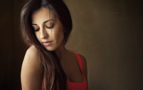 tank top, closed eyes, portrait, girl, cleavage, simple background