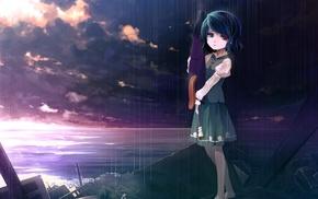 water, sky, anime girls, rain, umbrella