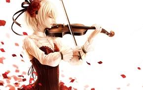 blonde, short hair, Satoshi Bouno, violin, anime, anime girls