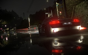 video games, Audi, Driveclub, night, V10 engine, Audi R8