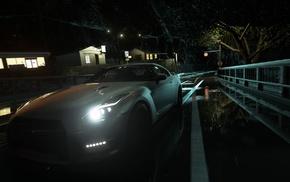 Nissan Skyline GT, R R35, rain, lights, road, Japan
