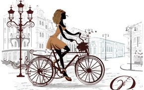 bicycle, girl, artwork, Paris