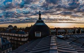rooftops, city, clouds, Paris, France