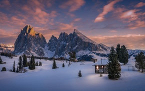 mountains, pine trees, Italy, Dolomites mountains, cabin, snow