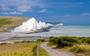 England, cliff, Cliffs of Dover, sea, cottage
