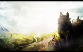 river, plants, wolf, animals, mountains, clouds