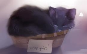 writing, baskets, animals, text, sleeping, cat