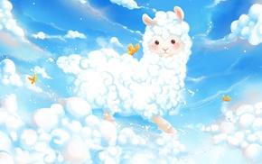 sky, alpacas, clouds, birds, animals