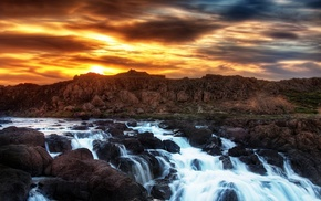 sunset, clouds, water, mountains, rocks, river