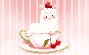 cherries, plates, cup, alpacas, animals, food