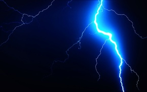lightning, black, blue, dark