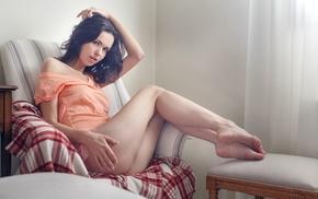 brunette, feet, dark hair, bare shoulders, ass, girl