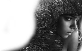 girl, photo manipulation, nature, monochrome