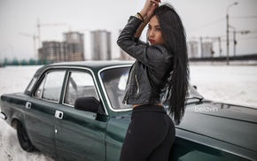 brunette, looking away, girl, GAZ, 24 Volga, ass