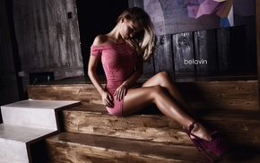 high heels, legs, blonde, sitting, model, Alex Bazilev
