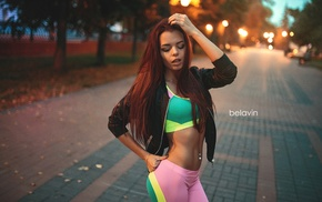 pierced navel, portrait, closed eyes, Alexander Belavin, girl, gym clothes
