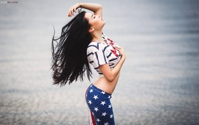 portrait, girl, Alexander Belavin, black hair, pants, closed eyes