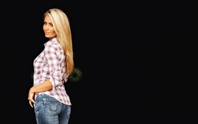 model, girl, looking at viewer, jeans, blonde, simple background