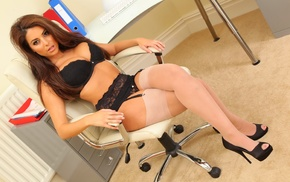 chair, stockings, model, lingerie, high heels, Charlotte Springer