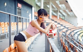 Asian, model, girl, Germany, stadium